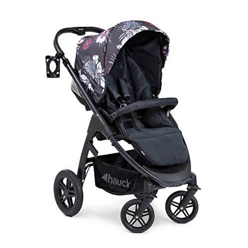 Hauck Saturn R All-Terrain Sportwagen + Beindecke, drehbar, bis 25 kg, XL Verdeck, Getränkehalter, höhenverstellbar, kompakt faltbar, kompatibel mit Babywanne & Babyschale, Wild Blooms