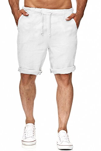 Zarlena Herren Leinenshorts Kurze Leinenhose 100% Leinen Bermudas Weiß L LNSH-WHT-L