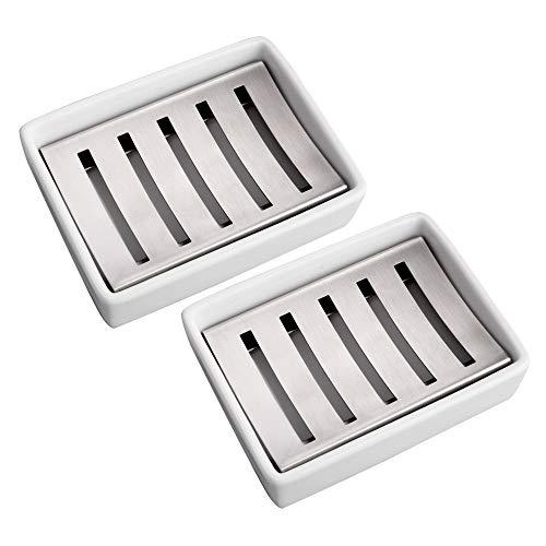 IMEEA 石鹸置き 石けんケース ソープディッシュ 石けん入れ 石けん皿 ステンレス ホワイト 2個セット