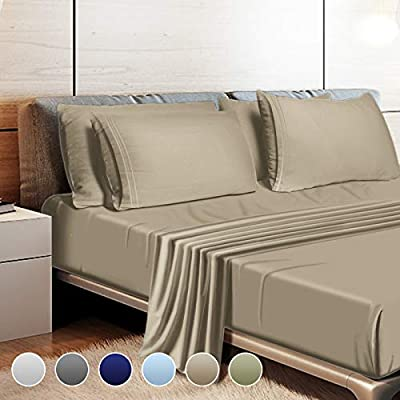 """Leafbay Bed Sheets Set Twin - 3 Piece Hotel Super Soft Microfiber Bed Sheets 1800 TC with 16"""" Deep Pocket, Wrinkle Resistant and Unfading Bedding Set - Taupe"""