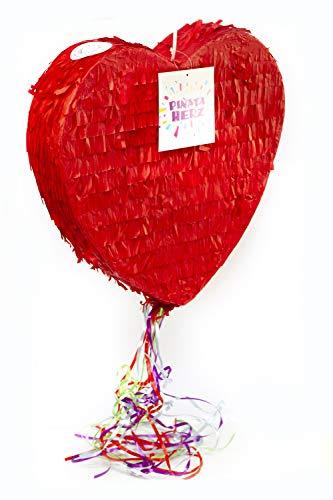 Trendario Pinata Hochzeit - Herz Pinata 37 cm groß in rot - ungefüllt - Ideal zum Befüllen mit Süßigkeiten und Geschenken