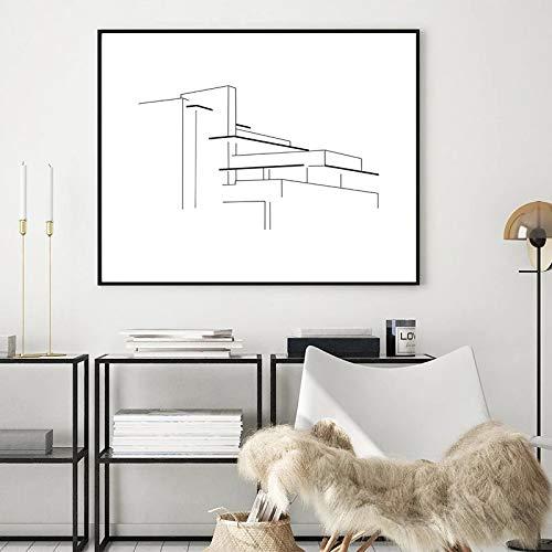 woplmh Leinwandbild Frank Lloyd Wrights Kunstwerk Drucke Falling Water House Abstrakte Strichzeichnung...