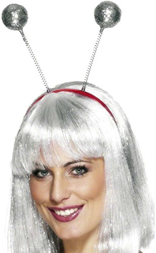 Smiffys Damen Glitzer Bommel Haarreif, One Size, Silber, 23925