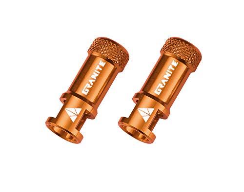 Granite Juicy Nipples - Tapones de válvula de Ciclo de Aluminio CNC calados para Desmontar obús, Unisex, Naranja, único