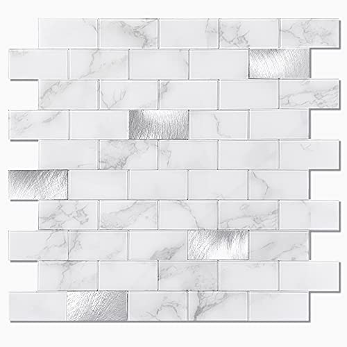 BeNice Azulejos Adhesivos Mosaico Cocina,Azulejos Adhesivos Baño Panel Pared Pegar(5Piezas)Blanco