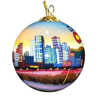 Art Studio Company Hand Painted Glass Christmas Ornament - Denver Colorado Skyline