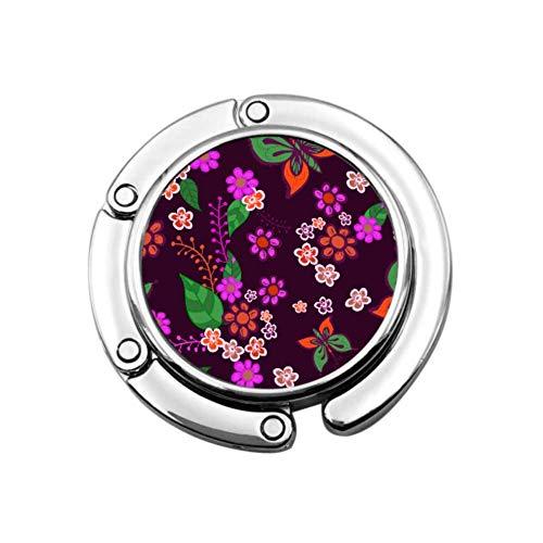 Gancho para Monedero Textura Plegable Mariposas Multicolores Flores Bolso Plegable Colgador de Mesa-Bolsa Colgador Colección-Ganchos de