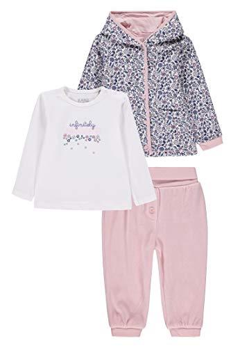 Kanz Baby-Mädchen 3tlg. Set (Jacke + T-Shirt 1/1 Arm + Jogginghose) Bekleidungsset, Mehrfarbig (Allover|Multicolored 0003), (Herstellergröße: 56)