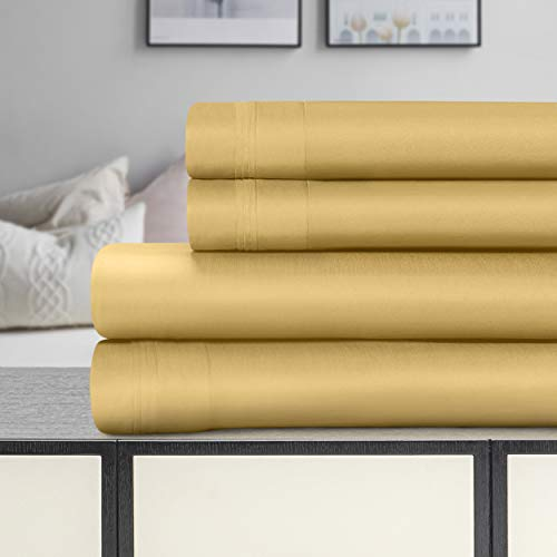 SUPERIOR 1500-Thread Count Egyptian Cotton Solid Deep Pocket Sheet Set, King, Gold, 4-Pieces