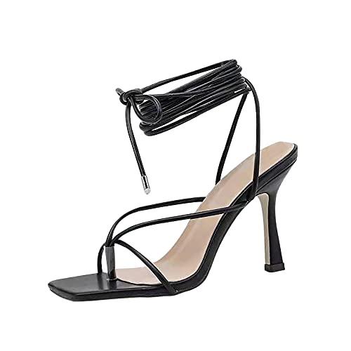 Sandalias de tacón con aguja para mujer, sandalias de tacón abierto, sandalias de tacón con cordones, sandalias de tacón abierto, sandalias de tacón, Negro , 39 EU