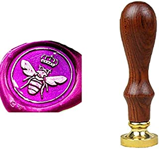 YGHM Cute Bee with Queen Insect Wax Seal Stamp Elegangt Natural Rosewood Handle Sealing Wax Stamp Kit Gift Wine Package Wedding Invitations Card Envelope Letters Seal Stamp