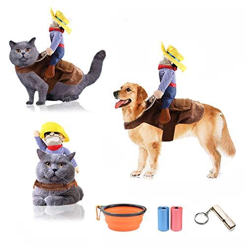 TVMALL Disfraz de perro Mascota Disfraz de Jinete de Vaquero Divertido Disfraz de Jinete de Perro con Ropa de Muñeco y Sombrero para Fiesta Halloween Cosplay - regalo ideal para tu mascota (L)
