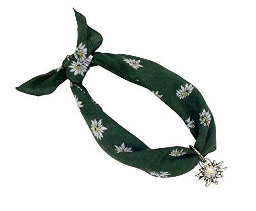 Dunkel-grünes Nickituch im Edelweißdesign mit Edelweißanhänger   Anhänger mit original Ostinoff-Strasssteinen   Bandana aus 100% Baumwolle   Halstuch 53 x 53 cm   Teichmann