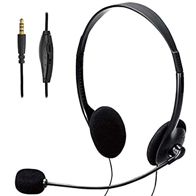 TINGDA Computer Headset, Lightweight 3.5mm Jack PC Headset with Microphone Noise Cancelling, Wired Headphones Business Headset for Skype Webinar Cell Phone Call Center, Clear Chat, Ultra Comfort from MF.,LTD