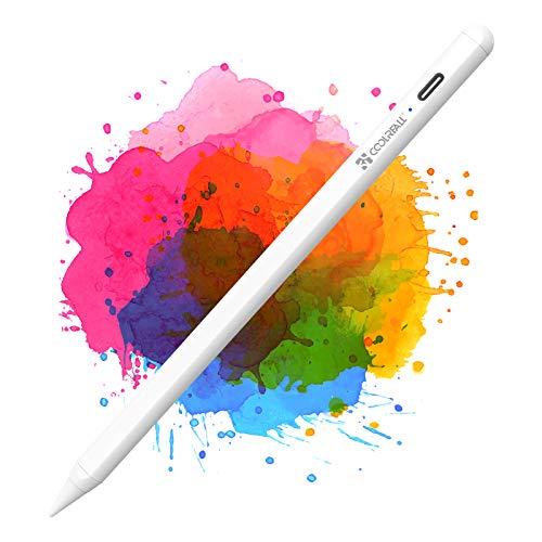 CoolReall Stylus Stifte für iPad 2018-2020, Kompatibel mit iPad 8&6&7th/iPad Air 4&3rd/Mini 5th/iPad Pro 11&12.9, mit Palm-Abstoßung, Anti Rolling, Aktivem Akku, Austauschbarem Stift nid (White)