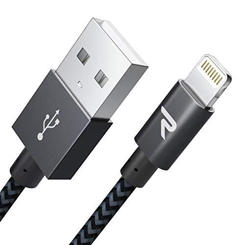 RAMPOW Câble pour iPhone [Certifié Apple MFi] en Fibre de Nylon Tressé avec Connecteur Ultra Résistant pour iPhone 11/11 Pro/X/XS/XR/8/8 Plus/7/7 Plus/6s/6s Plus/6/6 Plus, etc - 1m/3.3ft - Gris Foncé