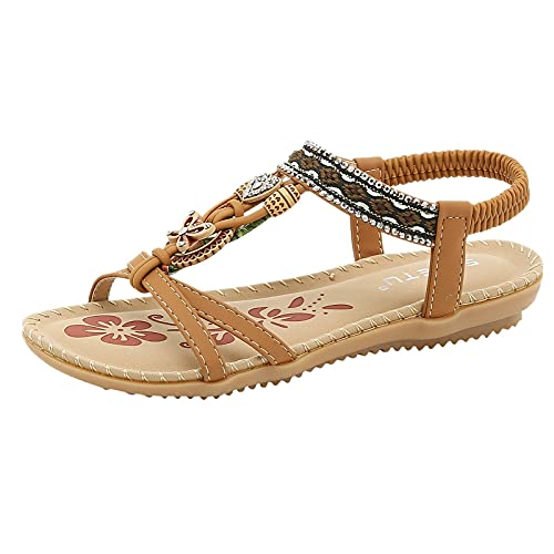 Sandalias Mujer Verano Planas Comodas Boho Vintage Moda Zapatos de Playa Punta Abierta Sandalias Negro Marrón Beige Número 37-42 EU (Brown, 39.5)