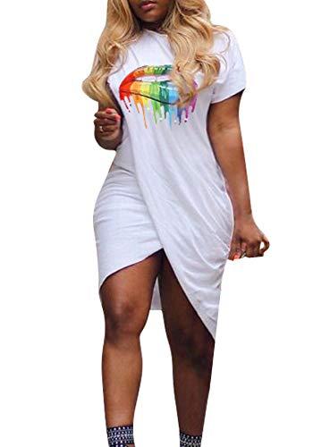 Vakkest Women's Short Sleeve T-Shirt Dresses Summer Sexy Lip Print Ruched Loose Casual Tunic Mini Dress