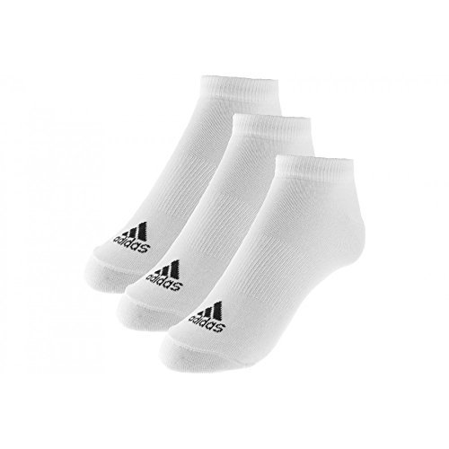 Adidas Performance No-Show Thin 3PP, Calcetines unisex, 3 pares, Blanco, 39-42