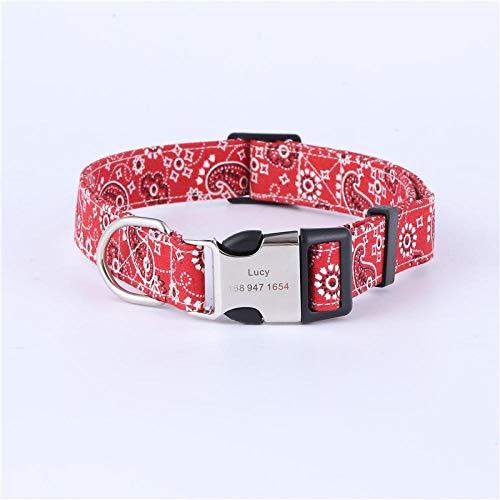 ZYYC Collar de Perro Personalizado Etiquetas de identificación de Perro grabadas Etiqueta de Nombre Collar de Mascota para Accesorios de Perro Pastor alemán-C_M