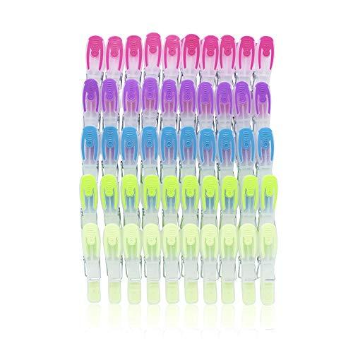 SOHFA Wäscheklammern - 50er Set Wäscheklammer- Klammern aus stabilem Kunststoff mit Soft-Grip - für Wäscheleine, Wäschespinne oder Wäscheständer (50 Stück)