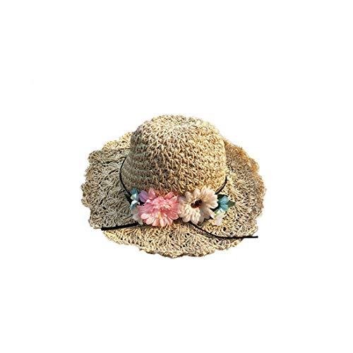 Sommer Strohhut große Rand Blumen-Strand-Hut-Handmade Straw Hat Sonnenschutzkappe für Frauen-Mädchen-M Beige