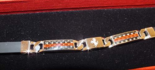 Ferrari Maserati of Washington Men Shield Carbon Fiber & Silver Bracelet IT