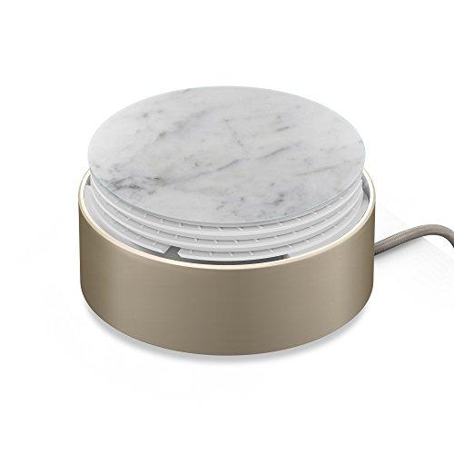 Native Union Cargador Eclipse - Cargador con 3 Puertos USB y Gestión de Cables - Carga Rápida de Múltiples Dispositivos, con Sensor Táctil, Luz y Tapa Recubierta de Mármol Auténtica (Blanco)