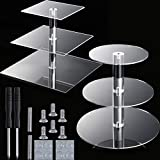 2 Pieces 3 Tier Cupcake Stand Including 1 Pieces Round Acrylic Cake Stand and 1 Pieces Square Cupcake Tower Stand Cupcake Holder Stand for Pastry Wedding Birthday Party, 4 Inch between 2 layers