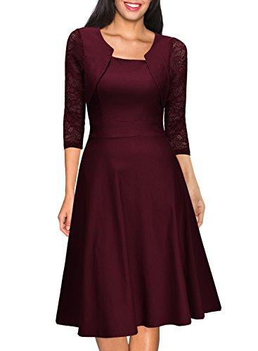 Miusol? Damen Abendkleid Elegant Cocktailkleid Vintage Kleider 3/4 Arm mit Spitzen Knielang Party Kleid Weinrot Gr.M - 5