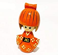Kokeshi de Madeira Boneca Oriental Japonesa Gueixa Okina Atana + Mini Kokeshi - 13cm