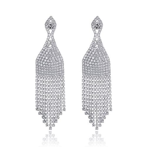 Qtwmhb Pendientes completos de Diamantes completos Populares Europeos y Americanos Luz de Lujo de Lujo de Lujo Pendientes Snorks Lleno de Pendientes de Cadenas de perforación