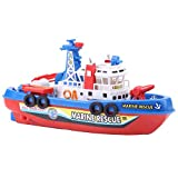 Boat Toy - Fire Boat Toy Water Spraying Ship Model Bath Toys with Sound and Flash Light for Children Kids