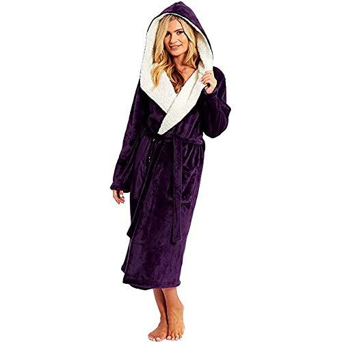 Winter Plush Hooded Robe for Women Plus Size, Soft Fleece Long Bathrobes Kimono Sleepwear Spa Shawl, S-XXXXXL Purple
