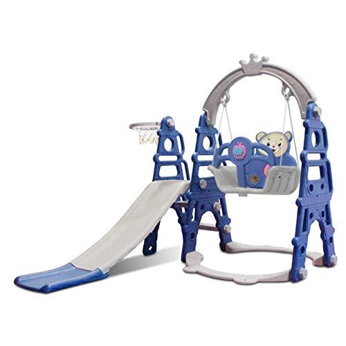 Diapositiva para niños de plástico, escalada para niños pequeños 3 en 1 y juego de swing, stand de baloncesto de escalada de roca con música, área de juego infantil interior y al aire libre con música