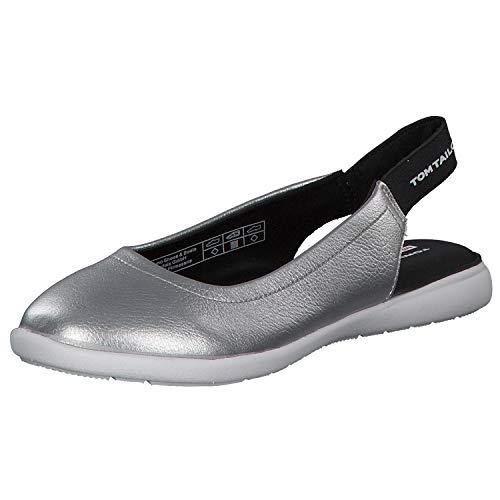 TOM TAILOR Damen 6996405 Slingback Ballerinas, Silber (Silver 00017), 40 EU