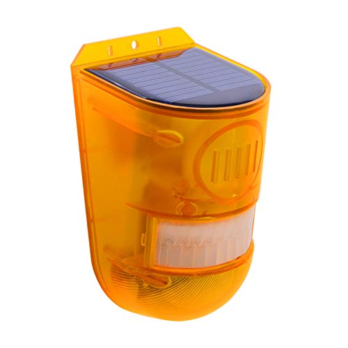 perfk Luz de Alarma de Seguridad Solar IP65 Sensor de Movimiento a Prueba de Agua Sirena de Alarma Solar