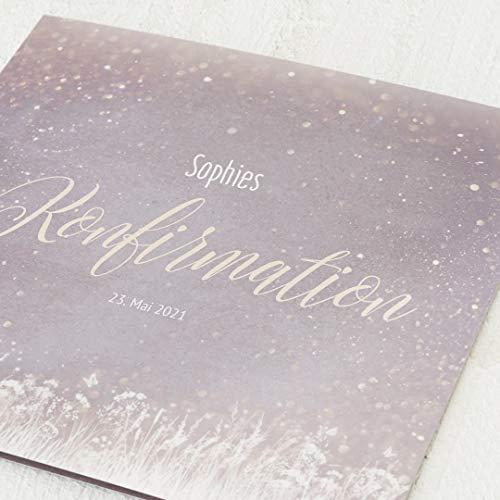 sendmoments Konfirmationseinladungskarten, Feenstaub, Einladung 5er Klappkarten-Set quadratisch, personalisiert mit Text, wahlweise mit persönlichen Bildern und passenden Umschlägen im gleichen Design