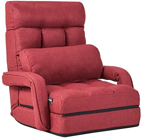 COSTWAY Sofá Cama Plegable Individual Sofá Perezoso Silla con Reposabrazos y Cojín para Oficina Salón Terraza Jardín (Rojo)