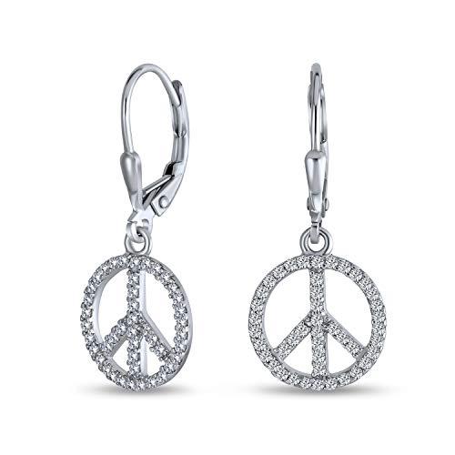 El Símbolo Mundial De La Paz De Zirconia Cúbico Pave CZ Gota Colgante Pendiente Para Mujer Para Adolescente 925