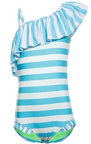 DUSISHIDAN Bademode Badeanzüge für Mädchen Kinder Sommer Schwimmanzug Süße Bikinis Badebekleidung Schulter Ärmel Einteiliger Blau-weißer Streifen S
