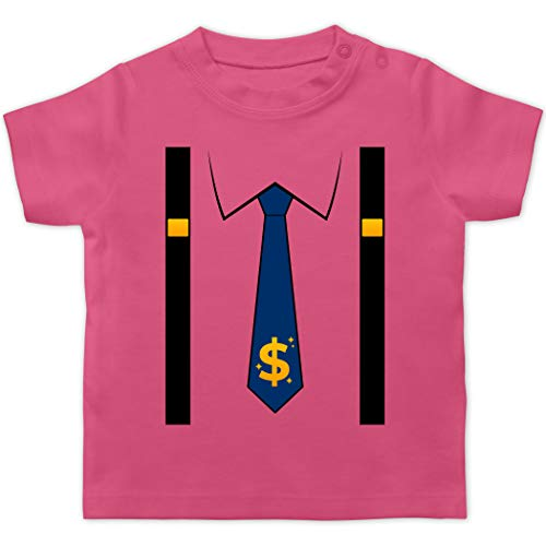 Karneval und Fasching Baby - Anzug Kostüm mit Dollarzeichen Krawatte - 12/18 Monate - Pink - Statement - BZ02 - Baby T-Shirt Kurzarm
