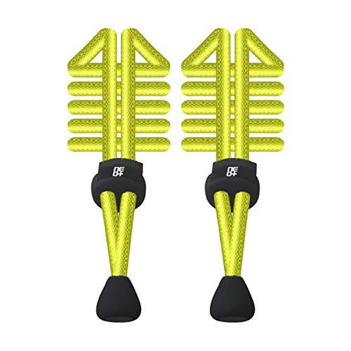 Paquetes de cordones elásticos redondos ajustables para correr y triatlón (1 juegos en amarillo neón)
