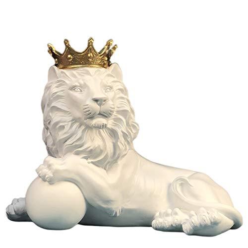 Atemberaubende Skulptur König der Löwen, 3D-Tierstatue, Glücksstatuen, 25,4 cm, abstrakte Figur, Business-Geschenk, weiß liegend