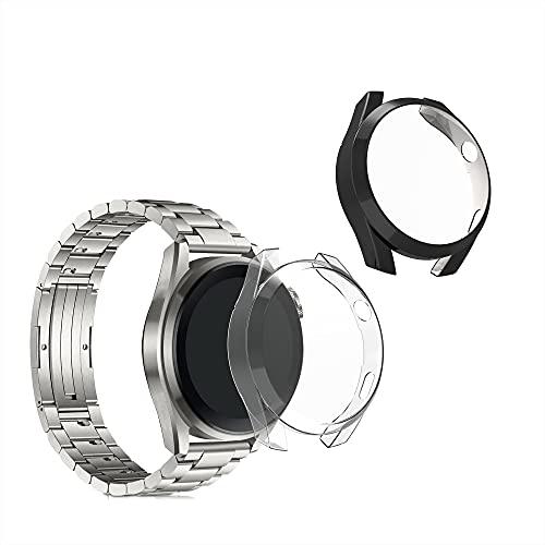 kwmobile 2 Carcasas para Pulsera Actividad - Set de 2X Funda Compatible con Huawei Watch 3 Pro - Negro/Transparente