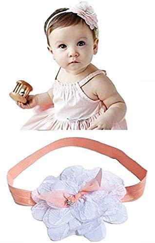 Banda para el cabello para recién nacidos bautizo niña lazo de flores elegante color blanco Idea de regalo de Navidad y cumpleaños