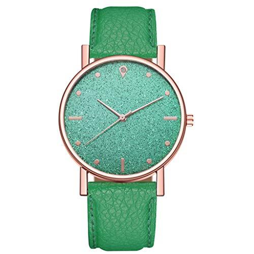 HWTOP Damen Luxusuhren Quarzuhr Edelstahl Zifferblatt Uhren Lederarmband Casual Armbanduhr Analog Quartz Wrist Watch, Grün