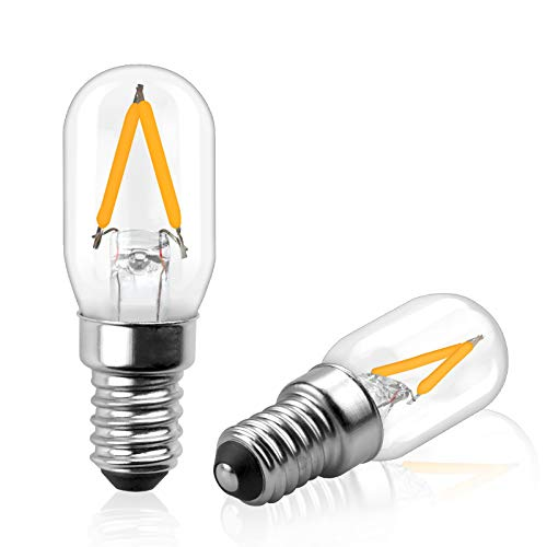 Bonlux Leuchtmittel 12 Volt LED E14, Glühbirne für Salzlampe, T22 Kandelaber E14 Vintage Nachtlicht Warmweiß 2700 K, 2 W für Kühlschrank / Salzlampe, 2 Stück