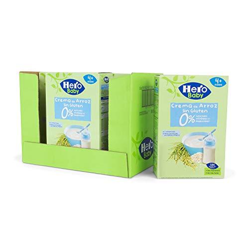 Baby   Papilla de Crema de Arroz sin Gluten y sin Azúcares Añadidos, para Bebés a Partir de los 4 Meses   Pack de 6 x 220 g