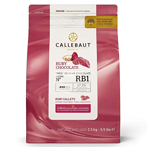 CALLEBAUT Receipe RB1 - Ruby Kuvertüre Callets, Pinke Schokolade, 47,3 % Kakao (2500 GR)